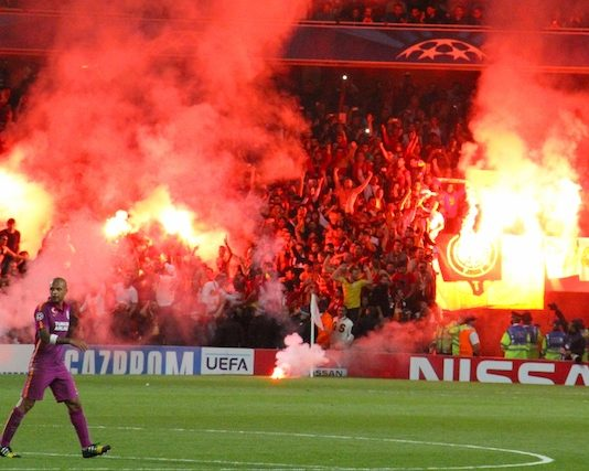 """""""Flares at the Emirates 2""""(CC BY 2.0)byRonnie Macdonald"""